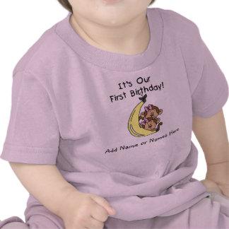 T-shirt jumeau personnalisé de singe de filles