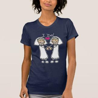 T-shirt lesbien de jeunes mariées de mariage