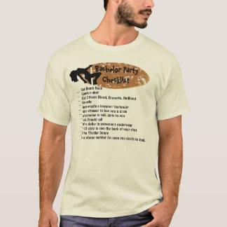 T-shirt Liste de contrôle d'enterrement de vie de jeune