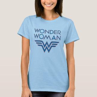 T-shirt Logo bleu et rouge de femme de merveille rétro