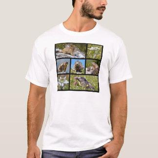 T-shirt Marmottes et edelweiss alpins de mosaïque de