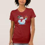 T-shirt mignon de vacances de bonhomme de neige