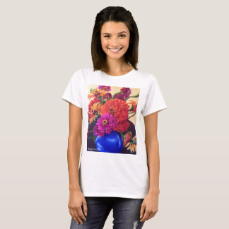 T-Shirt mit orange Zinnias