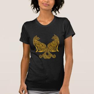 T-shirt or en bronze des chats 6 celtiques