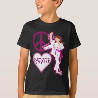 T-shirt Personnaliser de fille de karaté d'amour de paix