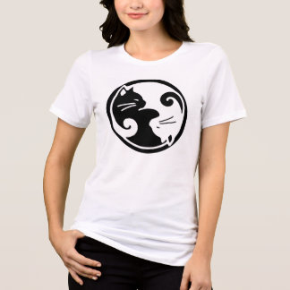 T-shirt Pièce en t de chats de Yin Yang des femmes