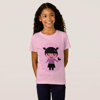 T-shirt rose de concepteurs avec la fille d'Emo