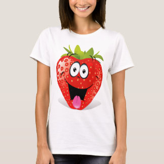 T-shirt Visage drôle de fraise collant la langue