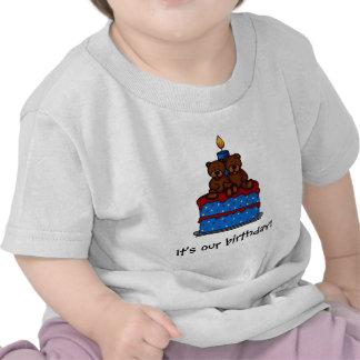 T-shirts jumeaux d'anniversaire de fille-garçon