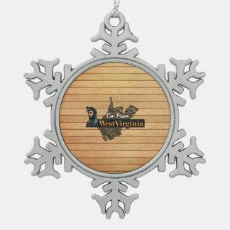 T-STÜCK bin ich von West Virginia Schneeflocken Zinn-Ornament