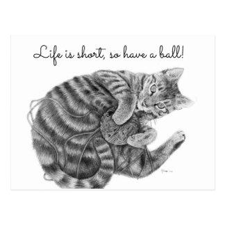 Tabby-Katze, die mit einem Ball der Garn-Postkarte Postkarte