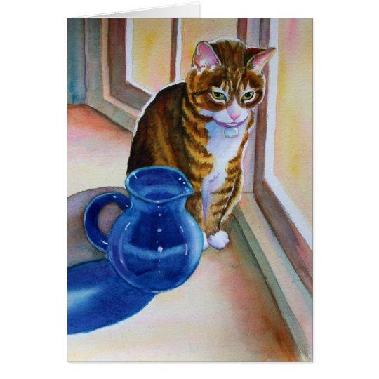 Tabby-Katze mit blauem Vase Grußkarte