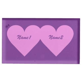 Tabellen-Kartenhalter des rosa Herzens
