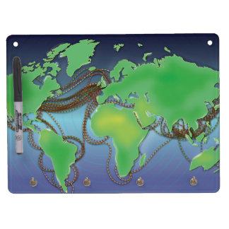 Tableau Effaçable À Sec Avec Porte-clés Fils du monde - câbles sous-marins