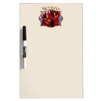 Tableau Effaçable À Sec Couples vénitiens dans des costumes rouges de