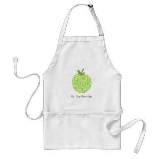 Tablier d'Apple de vert de professeur d'éducation