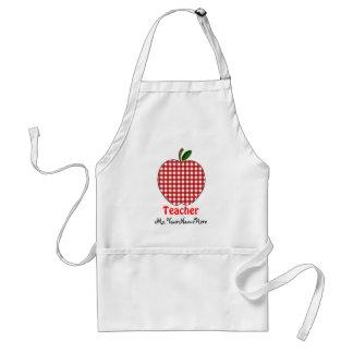 Tablier de professeur - guingan rouge Apple