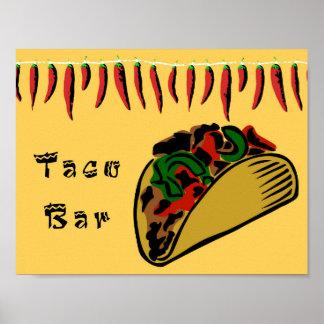 Taco-Bar-Zeichen Poster