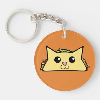 Taco-Katze Beidseitiger Runder Acryl Schlüsselanhänger