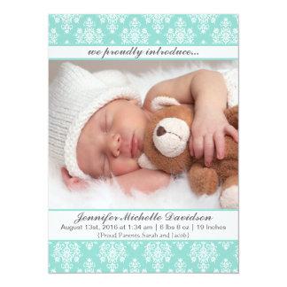 Tadellose Damast-Baby-Geburts-Mitteilungen Karte