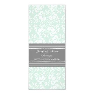 Tadellose graue Damast-gerade verheiratete 10,2 X 23,5 Cm Einladungskarte