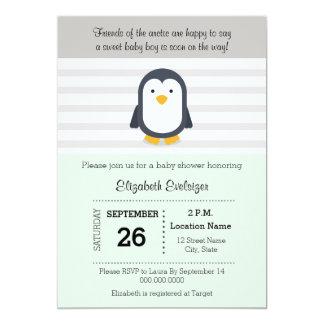 Tadellose graue Pinguin-Babyparty-Einladung 12,7 X 17,8 Cm Einladungskarte