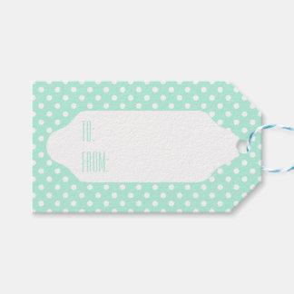 Tadellose grüne u. weiße Tupfengeschenkumbauten Geschenkanhänger
