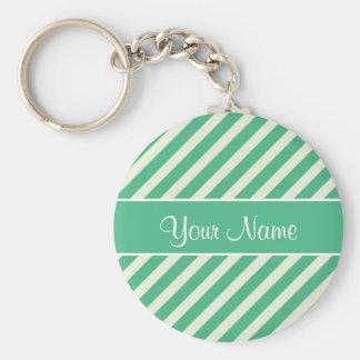 Tadellose grüne und weiße diagonale Streifen Standard Runder Schlüsselanhänger