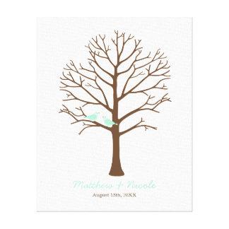 Tadellose Vogel-Brown-Fingerabdruck-Baum-Hochzeit Gespannter Galeriedruck