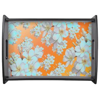 Tadelloser abstrakter Behälter Blume der orange u. Serviertablett