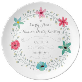 Tadelloser blauer rosa Hochzeitstag-BlumenKranz Teller Aus Porzellan