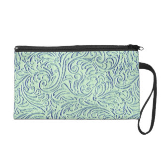 Tadelloser grün-blauer Vintager Scrollwork Wristlet Handtasche