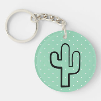 Tadelloser grüner weißer Tupfen-Kaktus-Liebhaber Schlüsselanhänger