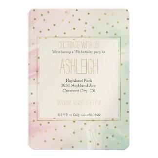 Tadelloser rosa GoldOmbre Confetti-Geburtstag 12,7 X 17,8 Cm Einladungskarte