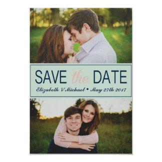 Tadelloses Grün Save the Date mit Fotos 8,9 X 12,7 Cm Einladungskarte