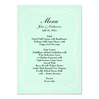 Tadelloses grünes einfaches Eleganz-Hochzeits-Menü 11,4 X 15,9 Cm Einladungskarte
