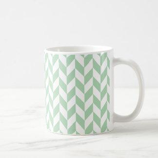 Tadelloses grünes Fischgrätenmuster-Muster Kaffeetasse