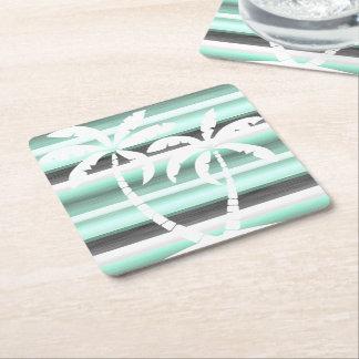 Tadelloses grünes graues PastellAquarell Stripes Rechteckiger Pappuntersetzer
