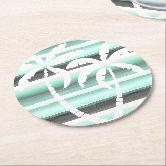 Tadelloses grünes graues PastellAquarell Stripes Runder Pappuntersetzer