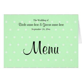 Tadelloses grünes Tupfen-Muster. Hochzeits-Menü Mitteilungskarte