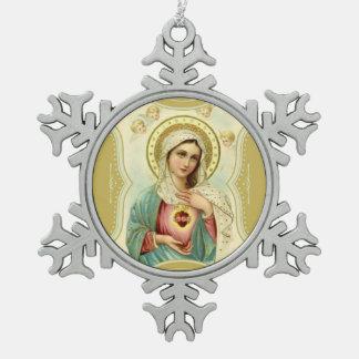 Tadelloses Herz der Mary-Engel-Engel Schneeflocken Zinn-Ornament