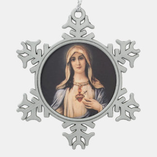 Tadelloses Herz trauriger Mutter Marys Schneeflocken Zinn-Ornament