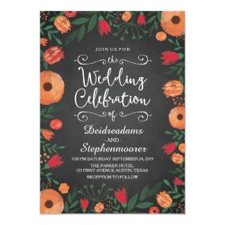 Chalkboard Watercolor Floral Orange Wedding Card
