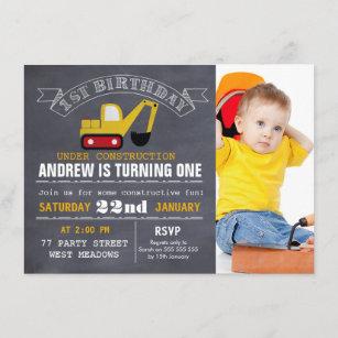 Tafel-Bau-1. Geburtstags-Einladung Einladung