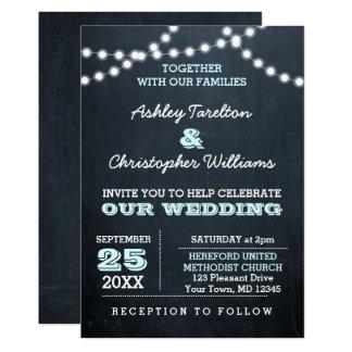 Tafel beleuchtet Aqua-Hochzeits-Einladung Karte