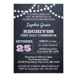 Tafel beleuchtet Flieder-zuerst heilige Kommunion 12,7 X 17,8 Cm Einladungskarte