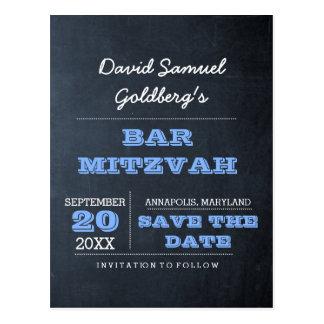 Tafel-blaues Bar Mitzvah Save the Date Postkarte