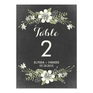 Tafel blüht doppelseitige Tischnummer-Karte 11,4 X 15,9 Cm Einladungskarte