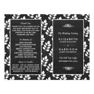 Tafel-Blumenblatt-Hochzeits-Programm 21,6 X 27,9 Cm Flyer