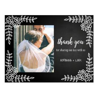 Tafel-Blumenhochzeit danken Ihnen Foto Postkarte